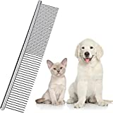 Boao Stainless Steel Pet Comb Pet Grooming Comb Rounded Teeth Dog Comb for Large, Medium and Small Dogs and Cats with Tangled Short/Long Hair (19 x 3 cm)