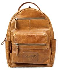 OFFICIALLY LICENSED RAWLINGS GEAR - authentic Rawlings backpack that combines timeless and classic vintage American baseball style with durability for men and women. GENUINE LEATHER - Made with natural rawhide. Pre-washed with a distressed character ...