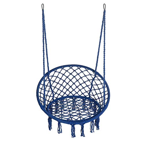 POSD Silla De Columpio Colgante47 '' Columpio Colgante Cuerda De Algodón Macramé Silla Hamaca Jardín De Casa Al Aire Libre 265 Libras (Size:One Size; Color:Dark Blue)