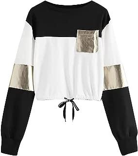 FengGa Fashion Women Casual O-Neck Long Sleeve Bandage Patchwork Pocket Sweatshirt