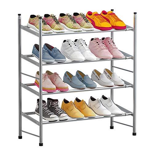 IBEQUEM Zapatero con 4 niveles, color gris plateado, apilable y ajustable, para salón, vestidor, ancho (60-110) x alto 50 x profundidad 30 cm (gris plateado)