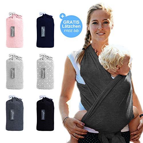 Makimaja - Portabebés hecho de algodón 100% - gris oscuro - portabebés de alta calidad para recién nacidos y bebés hasta 15 kg - incluye bolsa para guardar y babero