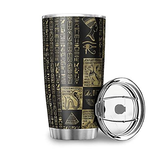 Dessionop Botella de agua de Tumbler con diseño de maravillas egipcias y jeroglifos, 600 ml, a prueba de fugas, color blanco