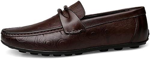 EGS-chaussures Mocassins de Conduite pour pour Hommes Chaussures Bateau Mocassins Plats Glisser sur du Cuir véritable Chaussures de Cricket (Couleur   Marron, Taille   44 EU)  nouveaux produits nouveautés