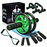 Slimerence 6-in-1 AB Wheel Roller Kit, Ab Exercise Roller Set with Push-up Bar, Hand Gripper, Jump...
