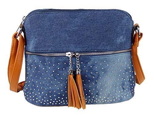 yourlifeyourstyle Damen - Jeans - Umhängetasche Troddeln Steinchen Nieten Glitzereffekt 28x23x11cm abgerundet Teenager Tasche (blau/braun)