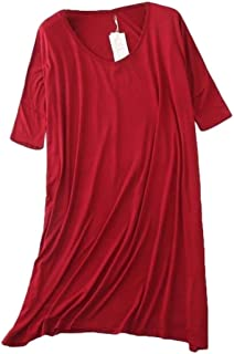 Abeaicoc Women's V Neck Modal Loose Solid 1/2 Sleeve Sleepwear Nightgown