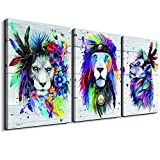 Canvas Wall Art for Bedroom Wall Decor for Living Room Canvas art Print Abstract watercolor Painting Colorful Animal Lion wall Pictures Stretched Framed Ready to Hang bathroom Home Decorators 3 Pieces