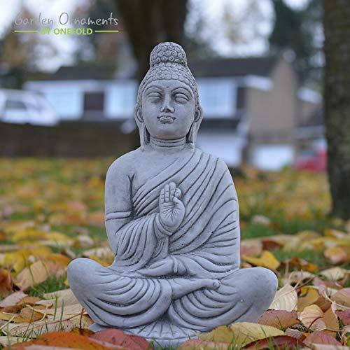 ONEFOLD - MEDITATING INDIAN BUDDHA - HAND CAST STONE GARDEN ORNAMENT/STATUE/SCULPTURE/THAI/KOI