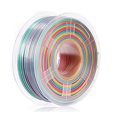 ZOBOLA 3D Printer Filament Silk Rainbow Filament 1.75mm 1kg For 3D Printer Shiny Color PLA Filament Silk Texture Printing Materials (Color : PLA Rainbow 01, Size : 1 kg)
