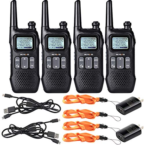 Retevis RT16 Walkie-Talkie Rechargeable FRS Emergency NOAA Weather Alert FM Flashlight Dual Watch Privacy Code Encrypt 2 Way Radio Long Range(4 Pack)