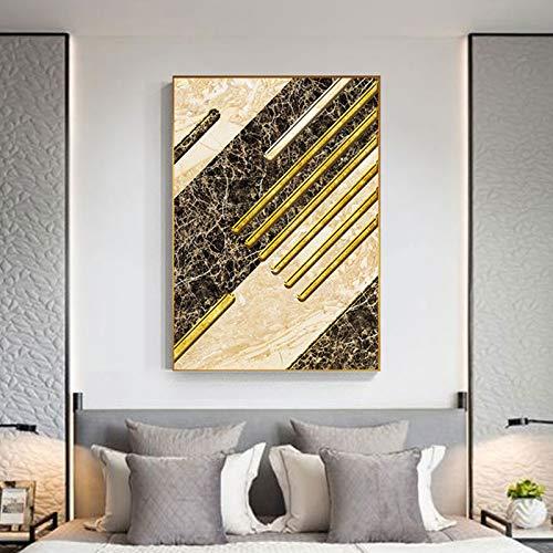 yaoxingfu Kein Rahmen Abstrakter Brauner Marmor mit Gold Leinwand ng Moderner Poster Druck für Mode Wohnkultur Wandkunst Bild Wohnzimmer 30x45 cm
