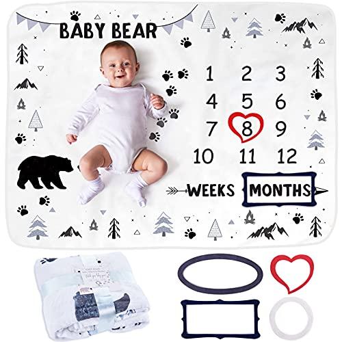 Baby Meilenstein Decke | Foto Monatsdecke Baby Neugeborene Junge oder Mädchen, Unisex | Personalisiertes Baby Party-Geschenk | Bär, Wald & Forst | Weich & Dick | Baby Monats-Decke | Mit Rahmen