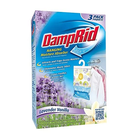 Damprid 773822075241 fg83k hanging moisture absorber fresh scent (3 boxes of 3 bag, blue 2 hanging bag protects valuable clothing from damage and musty odors. Effective for up to 60 days. Nontoxic and septic safe.