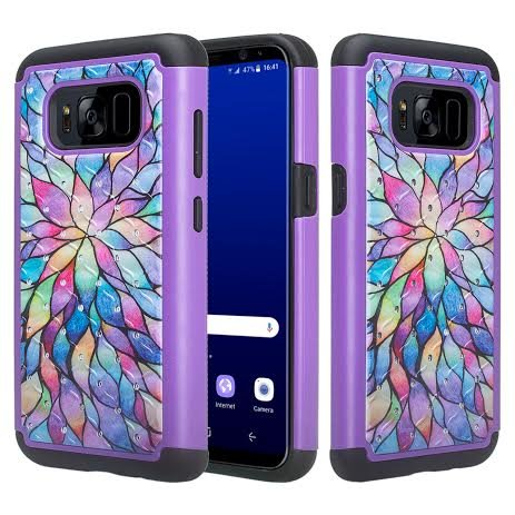 Galaxy Wireless Case Compatible for Samsung Galaxy S8 [Shock/Impact Resistant] Silicone Hybrid Dual Layer Armor Defender Protective Case Cover for Galaxy S8, Rainbow Flower