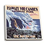 La Big Island, Hawaii–flujo de lava escena (Juego de 4posavasos de...