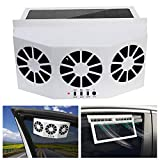 Tonquu Solar Powered Car Ventilator, Solar Powered Car Exhaust Fan, Car Radiator,Eliminate The Peculiar Smell Inside The Car and Can Be Used for General Types of Cars (White)