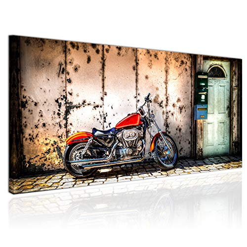 Topquadro XXL Wandbild, Leinwandbild 100x50cm, Harley Davidson Motorrad, Vintage und Retro, Rustikal, Dekandent - Panoramabild Keilrahmenbild, Bild auf Leinwand - Einteilig