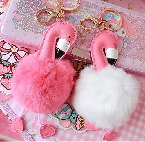 Llavero de peluche rosa y blanco, 2 unidades