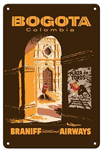 Bogotá, Colombia – Plaza De Toros – Cartel de viaje vintage de metal – Cartel de hojalata de 20 x 30 cm