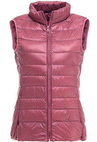Lovache Damen Weste Down Sweater Steppweste Leicht und Wärmend Stehkragen Reißverschluss Winterjacke, L, rosa