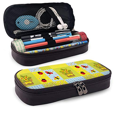 Pencil Case Big Capacity Storage Holder Desk Pen Pencil Marker Stationery Organizer Pencil Pouch with Zipper,Geometrical Design with Flowers in Pot Butterflies and Ladybugs