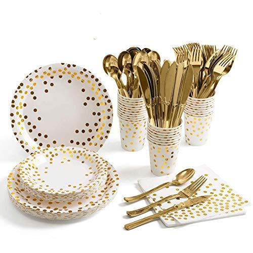 Platos de papel desechables de color dorado, 175 unidades, para fiestas, vasos, platos, platos de postre, toalla de papel, cucharas, tenedores desechables, cuchillos para 25 invitados
