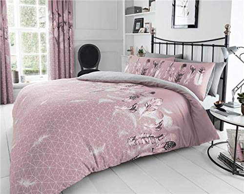 Homemaker Pink duvet sets dream catcher grey feathers design quilt cover & pillow casesbedding (Double)