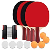 KETEP Ping Pong Paddle Set - 4 Pack, Pro Premium Table Tennis Racket Set, Retractable Ping Pong Net, 8 Game...