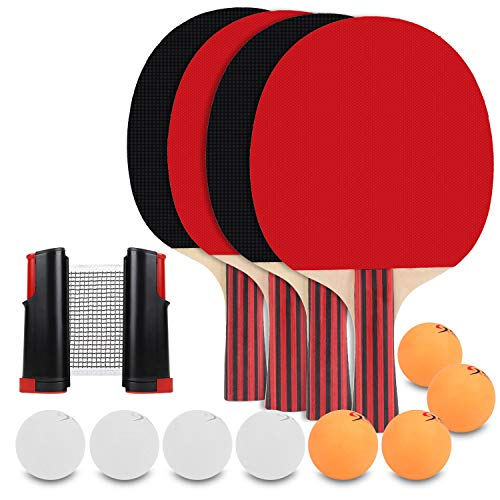 KETEP Ping Pong Paddle Set - 4 Pack, Pro Premium Table Tennis Racket Set, Retractable Ping Pong Net, 8 Game Balls, Rubber Spin Bat, Portable Cover Case with Advanced Speed, Indoor and Outdoor Play