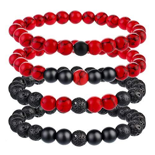 Souarts Charm Bracelet for Men Women Stone Beads Bangle Braided Rope...