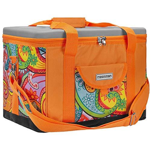 anndora Kühltasche XL Paisley orange 40 Liter - Isoliertasche Picknicktasche