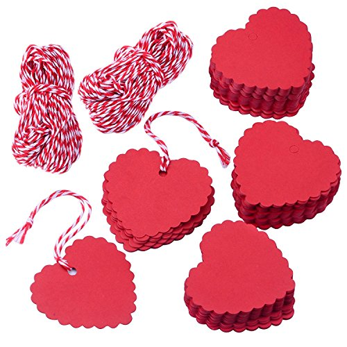 AKA 100PCS Christmas Kraft Paper Gift Tags Price Wedding Scallop Label Blank Luggage (Heart-Red)