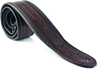 "LeatherGraft Dark Jet Black Genuine Leather Celtic Knot Pattern Design 2.75"" Extra Wide Padded Guitar Strap - For all Electric, Acoustic, Classical and Bass Guitars"