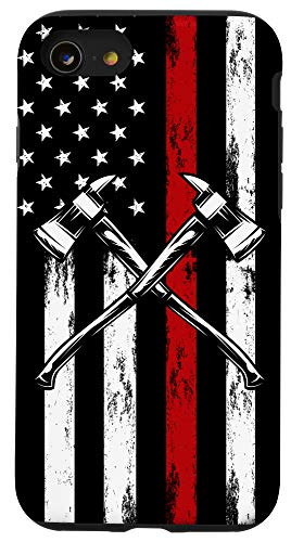 iPhone SE (2020) / 7 / 8 US Flag Firefighter Gifts American Fireman USA Fire Fighter Case