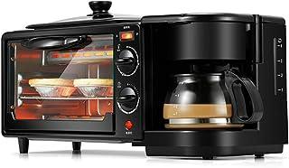 JKDKK Horno Electrodomésticos 3 En 1 Máquina Para Hacer Desayuno Mini Multifunción Cafetera De Goteo Pan Pizza Sartén Tostadora, 1
