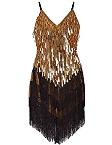Gold and black tassels dress for Tina Turner Costume
