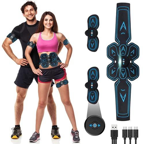 ROOTOK Bauchmuskeltrainer, EMS Trainingsgerät, USB Wiederaufladbar Muskelstimulator bauchtrainermit 6 Modi & 9 Intensitäten, LTragbarer Muskelstimulator,für Bauch,Arm,Bein-Fitness Trainings Gang