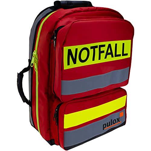 Pulox Erste HIlfe Rucksack, Notfallrucksack rot, aus Plane, ohne Füllung