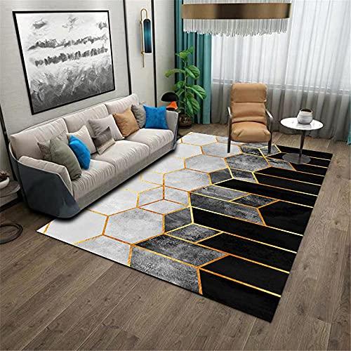 Negro Balcón Estéreo Geométrico Salón Dormitorio Dormitorio Corredor antideslizante y duradera alfombra...