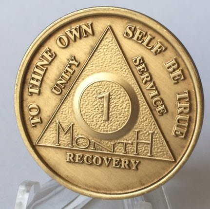 30 Day 1 Month Bronze AA Anniversary Chip Medallion Coin Alcoholics Anonymous