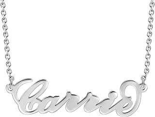SOUFEEL Personalized Name Necklaces for Women Carrie Pendant 925 Sterling Silver Nameplate Custom Gifts for Girls