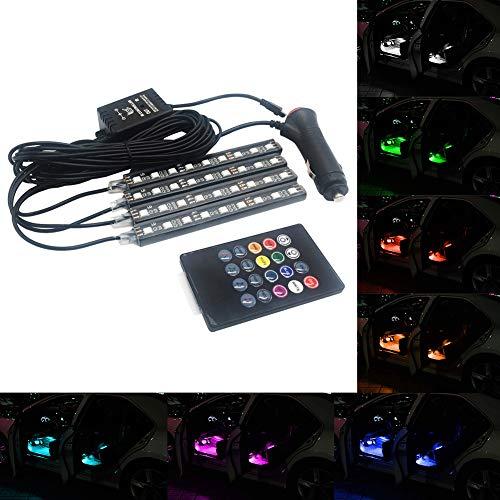 TABEN Lot de 4 bandes lumineuses LED pour intérieur de voiture 36 LED DC 12 V Multicolore Kit d'éclairage sous tableau de bord avec télécommande sans fil et chargeur de voiture