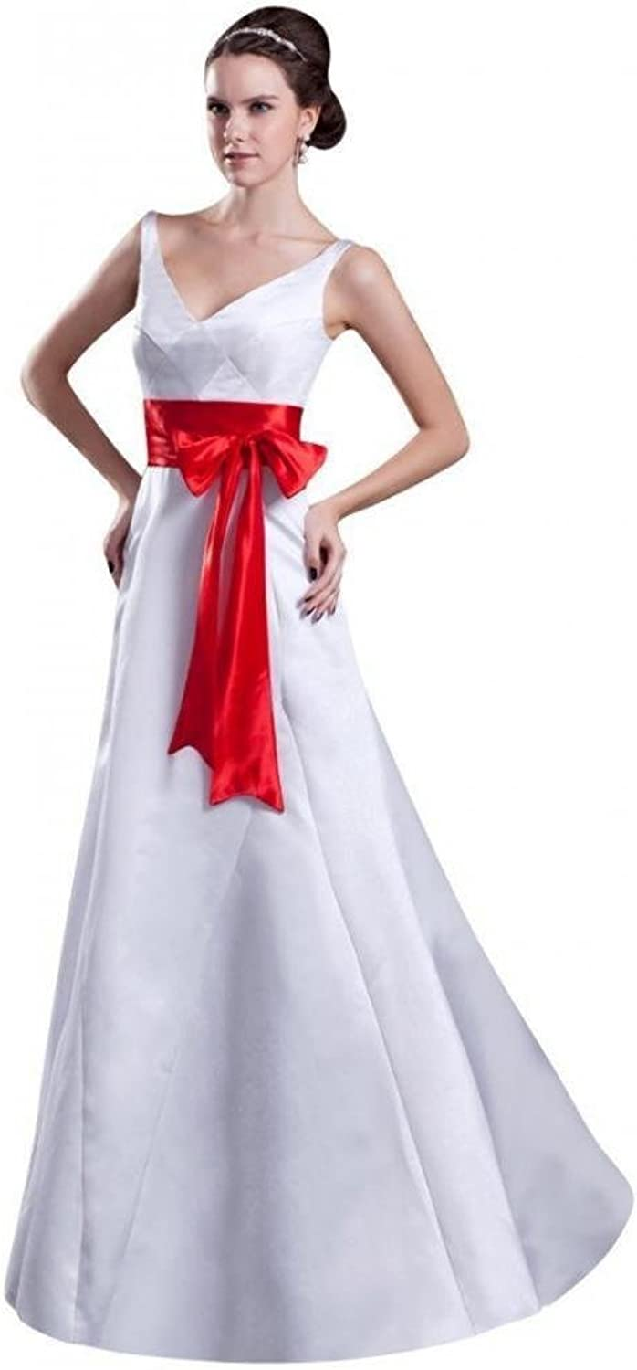Dearta Women's ALine VNeck FloorLength Satin Wedding Dresses