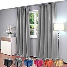 2 piezas Gräfenstayn® Alana - cortina térmica opaca de un solo color Cortina de oscurecimiento con cinta de cortina universal - PAQUETE DOBLE - 135 x 245 cm - muchos colores atractivos (Gris)