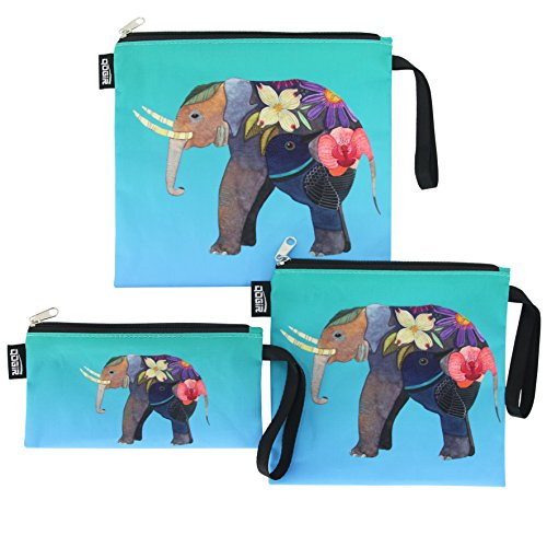 QOGiR Reusable Snack Bags and Sandwich Bags with Handle(Colorful Elephant)