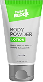 SweatBlock Body Powder Lotion, Talc Free, Anti-Chafing, Deodorizing - No Mess Body Powder for Men and Women, 4 fl oz
