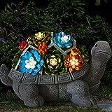 PEALOV Gartendeko Schildkröte Solar Leuchte,Schildkröte Gartenfigur Mit Sukkulenten Solarbetriebenen Lampen Dekoration LED Gartenleuchte Mit Aus Kunstharz Wasserdicht Für Balkon Garten,Hof