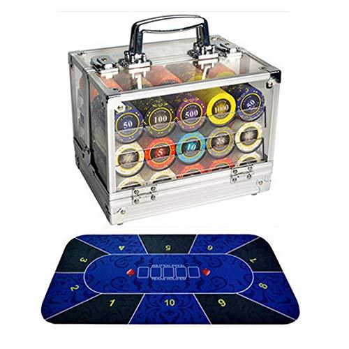 LGFB Blackjack-Sets 600 Stück Poker Chips Kartenspiel für Familie Freunde Sponsored Glücksspiel-Unterhaltung mit Acryl Koffern und Tischdecke