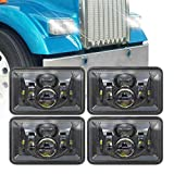 XPCTD 60W 4x6 Inch LED Headlights DOT Approved Rectangular Headlight Replacement for H4651 H4652 H4656 H4666 H6545 Peterbilt 379 Kenworth T800 Freightliner Ford Probe Oldsmobile Cutlass Black 4 PCS